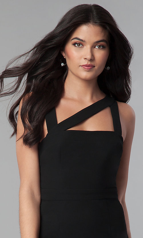 Image of short black wedding-guest party dress with cut outs. Style: BC-GEF65N66 Detail Image 2