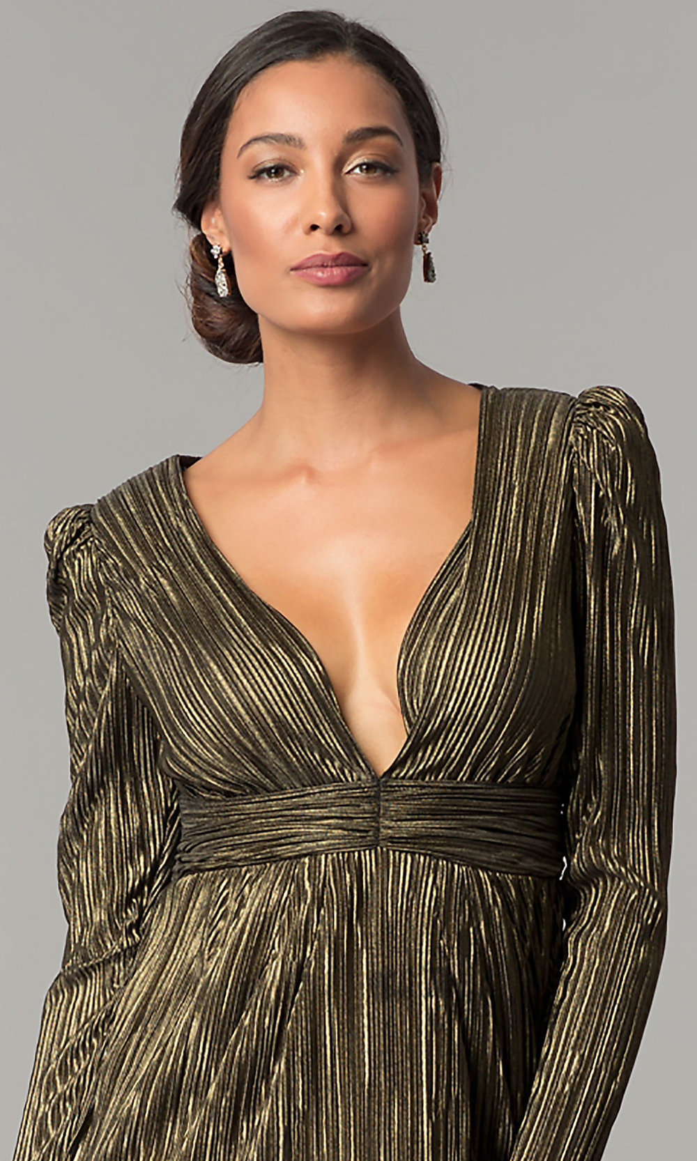 Short Gold and Black Long-Sleeve Party Dress