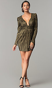 Image of black and gold long-sleeve short party dress.  Style: BC-ETE61N88 Detail Image 1