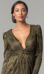 Image of black and gold long-sleeve short party dress.  Style: BC-ETE61N88 Detail Image 2