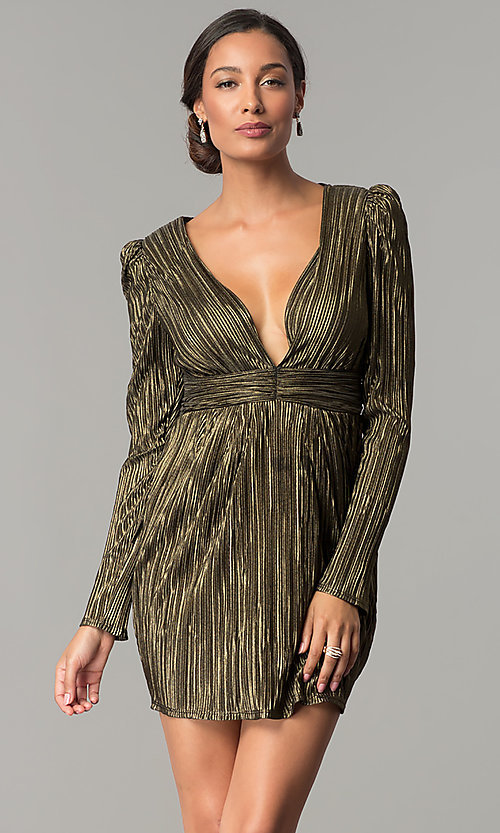 Image of black and gold long-sleeve short party dress.  Style: BC-ETE61N88 Front Image