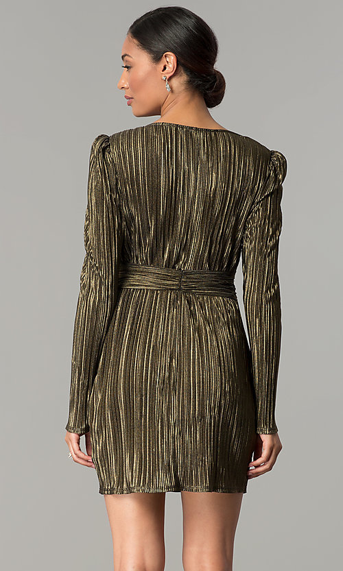 Image of black and gold long-sleeve short party dress.  Style: BC-ETE61N88 Back Image