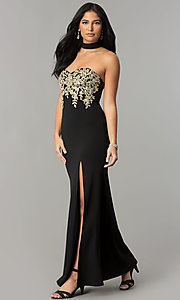 Image of embroidered-bodice long black prom dress with choker. Style: MY-4952US1S Detail Image 2
