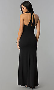 Image of embroidered-bodice long black prom dress with choker. Style: MY-4952US1S Back Image