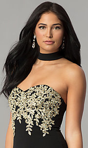 Image of embroidered-bodice long black prom dress with choker. Style: MY-4952US1S Detail Image 3
