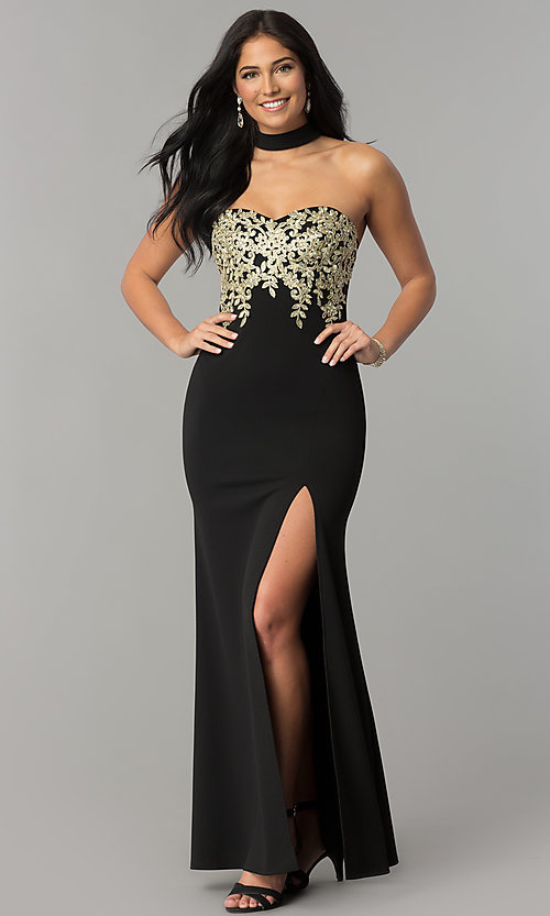 Image of embroidered-bodice long black prom dress with choker. Style: MY-4952US1S Front Image