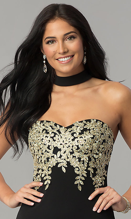 Image of embroidered-bodice long black prom dress with choker. Style: MY-4952US1S Detail Image 1