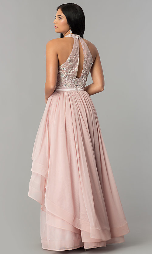 Long Mauve Pink Tiered Prom Dress with Embroidery