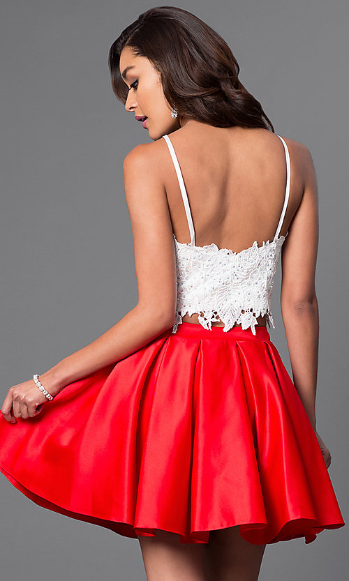 Image of short fit-and-flare two-piece homecoming dress. Style: DJ-A4524-v Back Image