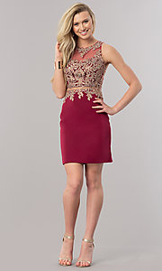 Image of burgundy short homecoming dress with sheer waist. Style: DQ-2000-v Detail Image 1