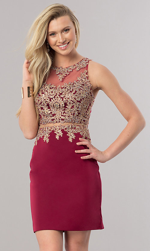 Image of burgundy short homecoming dress with sheer waist. Style: DQ-2000-v Front Image