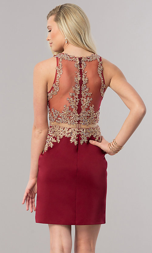 Image of burgundy short homecoming dress with sheer waist. Style: DQ-2000-v Back Image