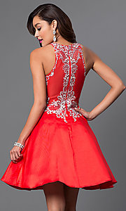 Image of short fit-and-flare high-neck party dress. Style: FB-GS1442-v Back Image
