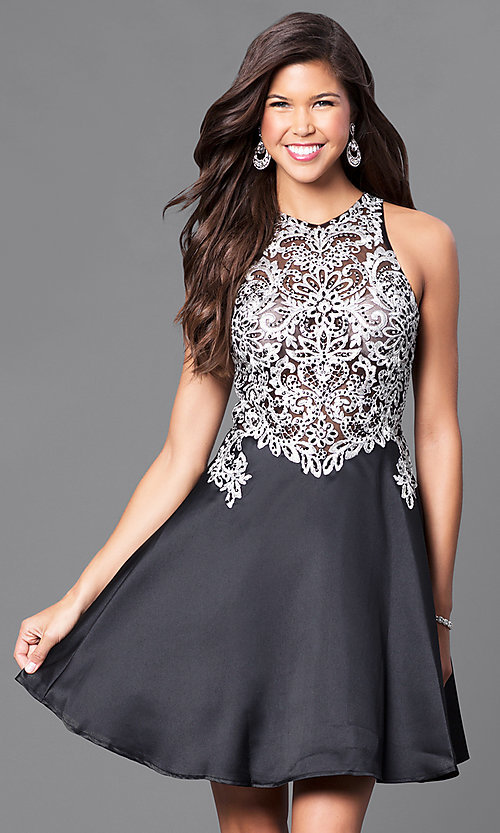Image of short fit-and-flare high-neck party dress. Style: FB-GS1442-v Front Image