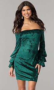 Image of green velvet off-the-shoulder holiday party dress. Style: JTM-JD8224 Front Image