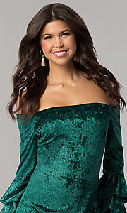 Image of green velvet off-the-shoulder holiday party dress. Style: JTM-JD8224 Detail Image 1