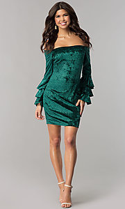Image of green velvet off-the-shoulder holiday party dress. Style: JTM-JD8224 Detail Image 2