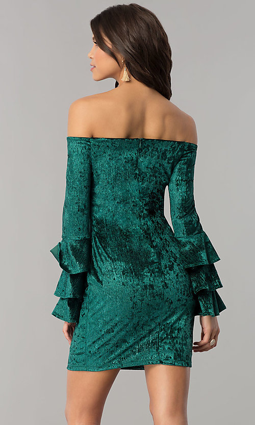 Image of green velvet off-the-shoulder holiday party dress. Style: JTM-JD8224 Back Image
