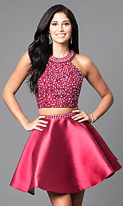 Image of two-piece wine red short homecoming dress. Style: BL-IN-227-v Front Image