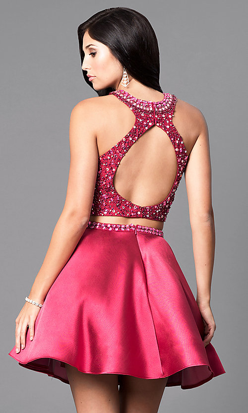 Image of two-piece wine red short homecoming dress. Style: BL-IN-227-v Back Image