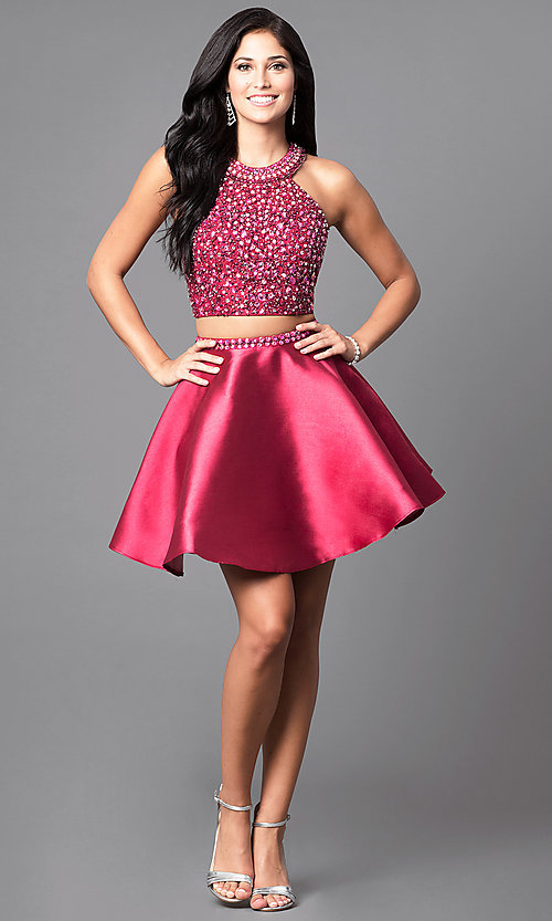 Image of two-piece wine red short homecoming dress. Style: BL-IN-227-v Detail Image 1