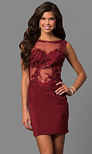 Image of JVNX by Jovani short burgundy homecoming dress. Style: JO-JVNX57150-v Front Image