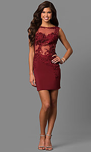 Image of JVNX by Jovani short burgundy homecoming dress. Style: JO-JVNX57150-v Detail Image 1