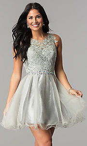 Image of jeweled-waist short homecoming dress with lace. Style: FB-GS2375-v Front Image