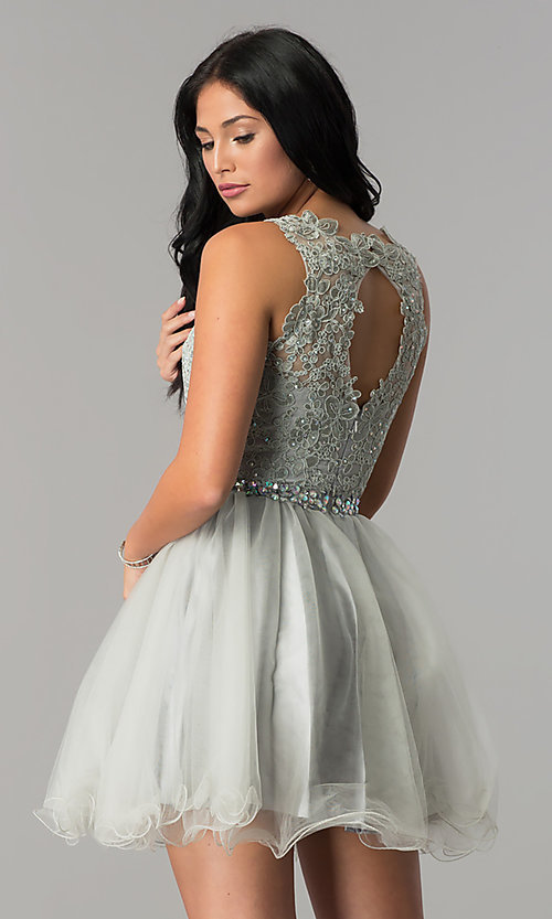 Image of jeweled-waist short homecoming dress with lace. Style: FB-GS2375-v Back Image