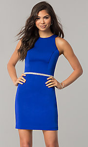 Image of short jeweled-waist cocktail party dress. Style: DQ-2065R Detail Image 2