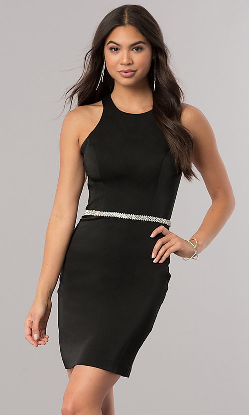 Image of short jeweled-waist cocktail party dress. Style: DQ-2065R Front Image