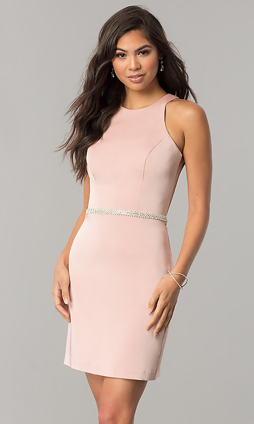 Image of short jeweled-waist cocktail party dress. Style: DQ-2065R Detail Image 1