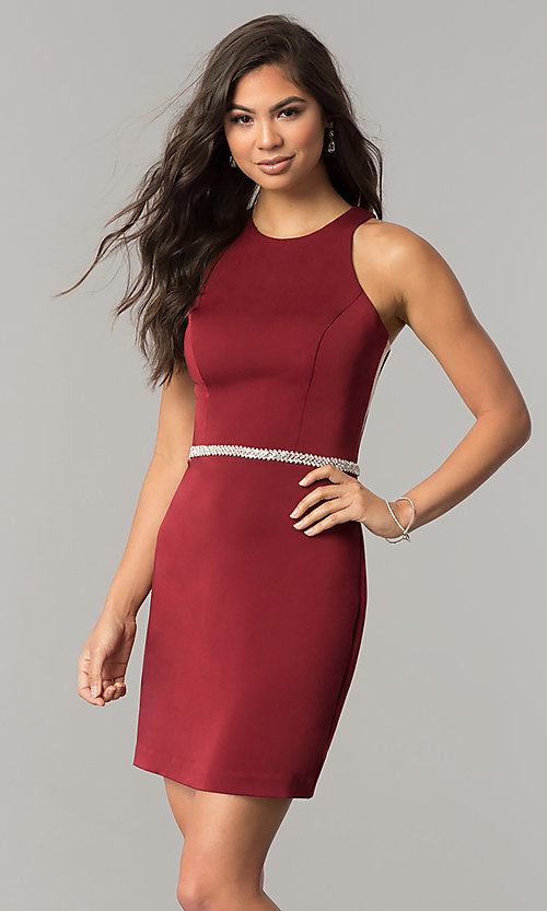 Image of short jeweled-waist cocktail party dress. Style: DQ-2065R Detail Image 3