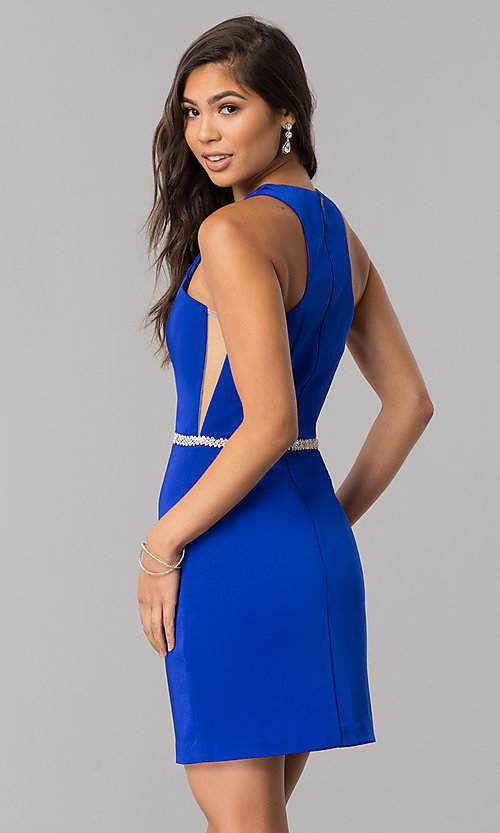 Image of short jeweled-waist cocktail party dress. Style: DQ-2065R Back Image