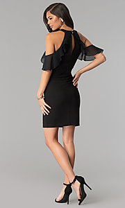 Image of cold-shoulder little black bandage party dress. Style: EM-FOT-1027-001 Detail Image 3