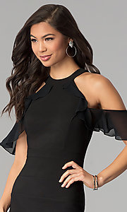 Image of cold-shoulder little black bandage party dress. Style: EM-FOT-1027-001 Detail Image 1