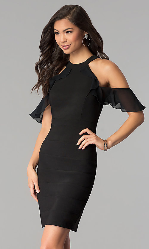 Image of cold-shoulder little black bandage party dress. Style: EM-FOT-1027-001 Front Image