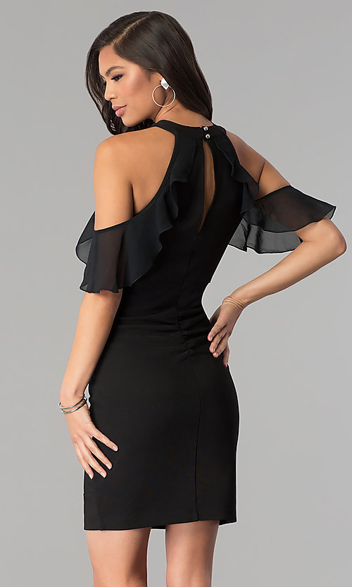Image of cold-shoulder little black bandage party dress. Style: EM-FOT-1027-001 Back Image