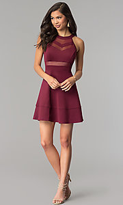 Image of a-line wine red party dress with sheer waist. Style: EM-DHX-1003-562 Detail Image 2