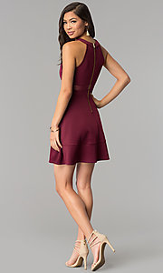 Image of a-line wine red party dress with sheer waist. Style: EM-DHX-1003-562 Detail Image 3