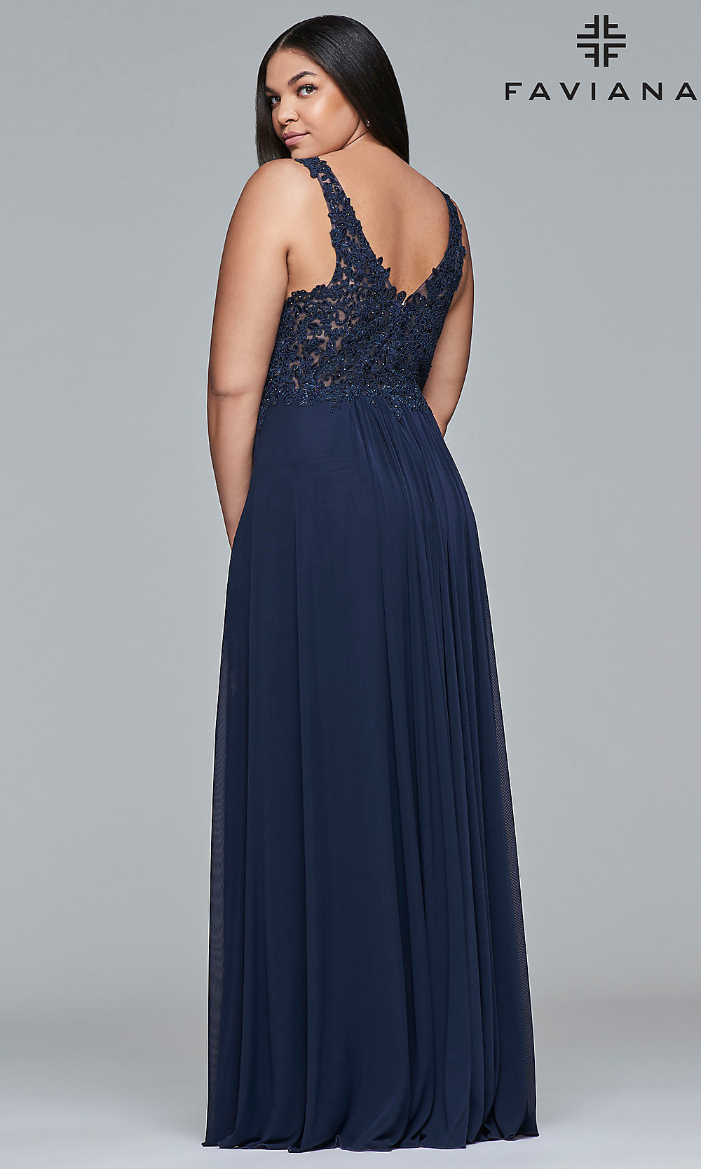 81b508eece6 Embroidered-Bodice Long Jersey Plus Prom Dress