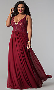 Image of long jersey plus prom dress with embroidered lace. Style: FA-9428 Detail Image 1
