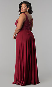 Image of long jersey plus prom dress with embroidered lace. Style: FA-9428 Detail Image 2