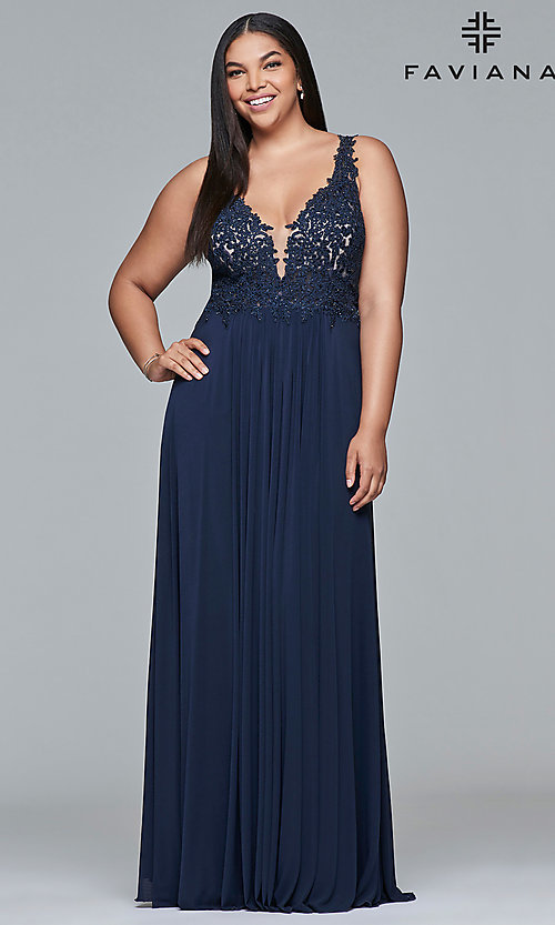 Image of long jersey plus prom dress with embroidered lace. Style: FA-9428 Front Image