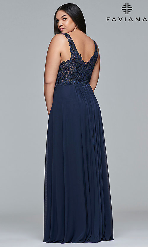 Image of long jersey plus prom dress with embroidered lace. Style: FA-9428 Back Image