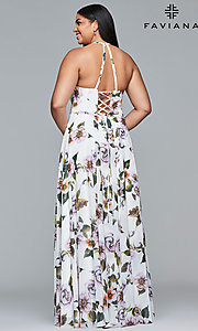 Image plus-size Faviana floral-print prom dress. Style: FA-9431 Back Image