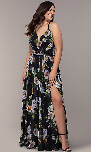 Corset-Back Faviana Plus-Size Prom Dress with Print
