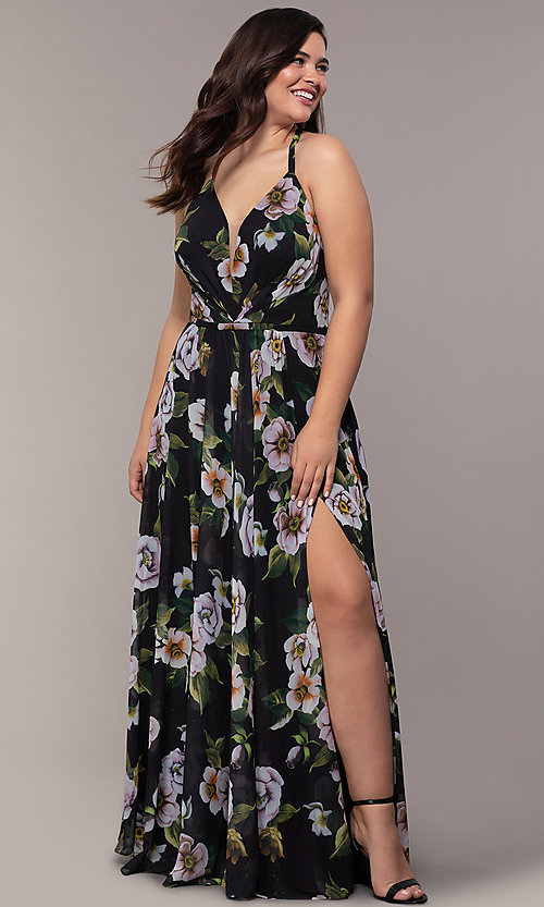 Image plus-size Faviana floral-print prom dress. Style: FA-9431 Detail Image 1