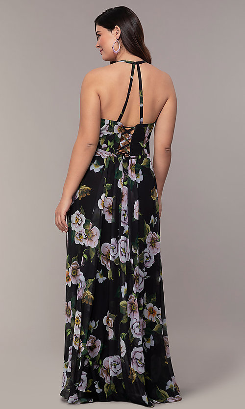 Image plus-size Faviana floral-print prom dress. Style: FA-9431 Detail Image 2