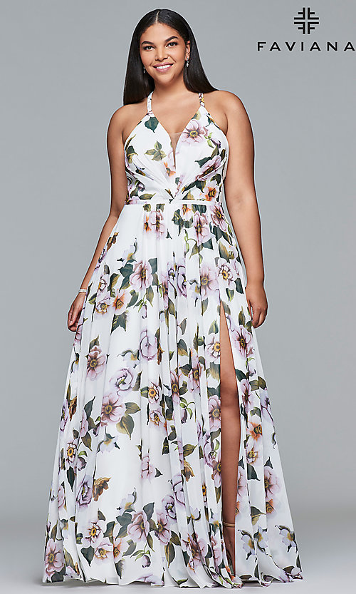 Image plus-size Faviana floral-print prom dress. Style: FA-9431 Front Image
